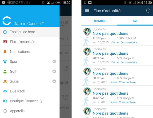 Présentation Garmin App sur Android