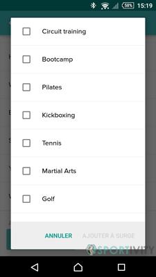 Liste des sports