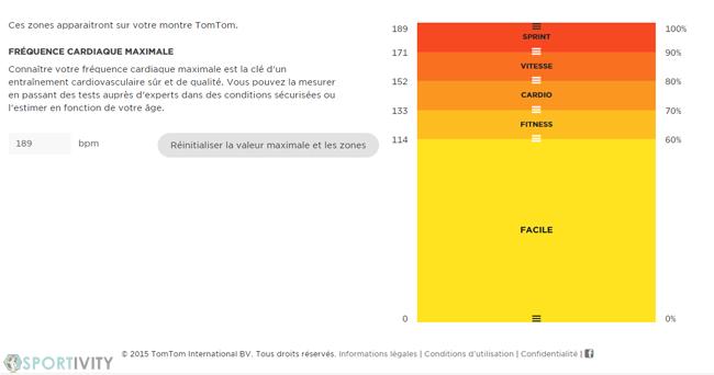 Configuration des zones de fréquence cardiaque