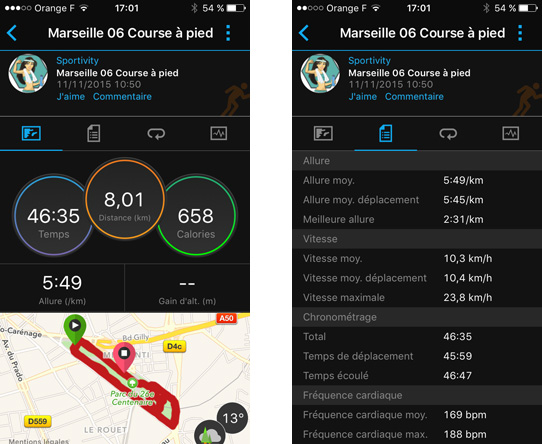Data running Garmin Connect