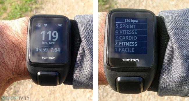 Affichage de la fréquence cardiaque sur montre GPS
