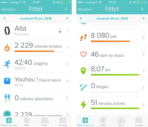 App mobile de Fitbit