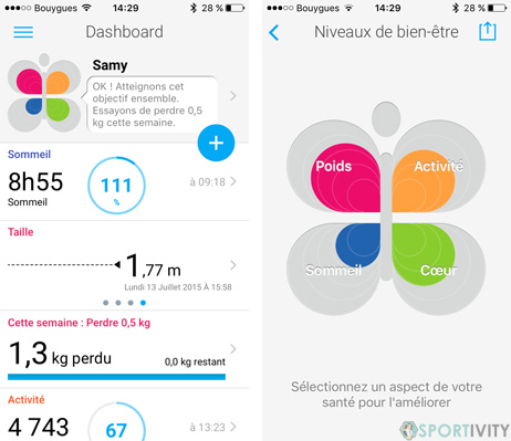 Dashboard sur Withings Health Mate