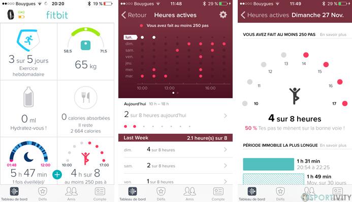 Suivi de l'inactivité sur Fitbit Charge 2