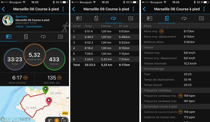 Garmin Connect course à pieds