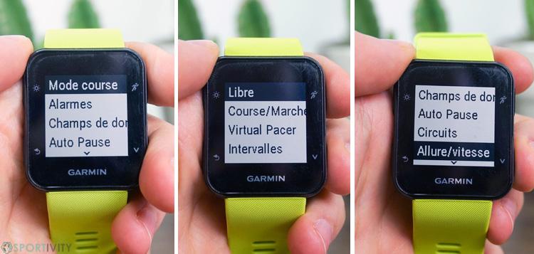 Option de courses à pieds sur montre GPS Garmin